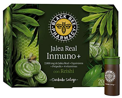 Black Bee Jalea Real Inmuno Plus, Complemento Alimenticio con Reishi, Equinácea, Própolis y 4 Vitaminas - 20 Ampollas