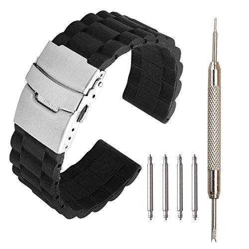 JSDDE Schwarz Silikon Uhrenarmband mit Edelstahl Faltschließe + 4X Federstege Pins Zubehör Set