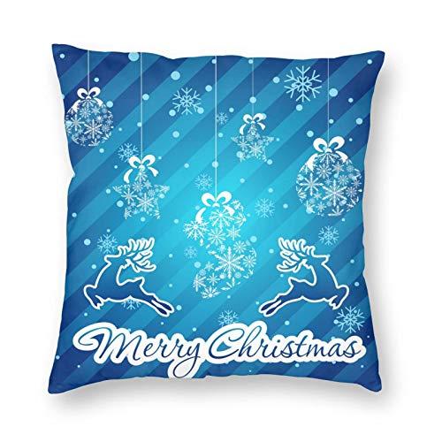 MAYUES Funda de cojín Tarjeta de Navidad Funda de Almohada Decorativa para el hogar Sala de sofá 45x45cm