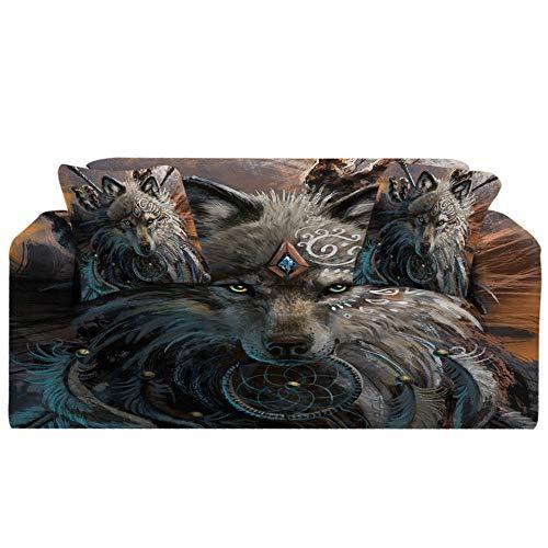 Fundas Sofa elasticas 1/2/3/4 plazas Cubre Sofa Fundas para Sofa Decorativas Fundas de Sofa Ajustables poliéster(Guerrero Lobo Azul Animal Estampado,3 plazas:185cm-235cm)