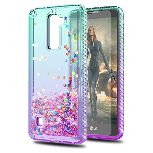 KaiMai Compatible for LG Stylo 2 Case LG Stylo 2 Plus/LG Stylus 2/Stylo 2 V Case with HD Screen Protector,Glitter Moving Quicksand Clear Cute Shiny Girls Women Phone Case for LG LS775-Aqua/Purple