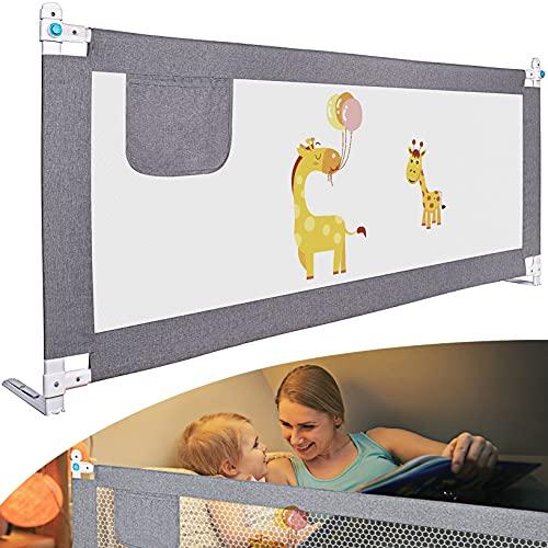 Rausfallschutz Bett 200cm, MROOYI Bettgitter Bettschutzgitter, Bettumrandung Babybett, Sicherer Rausfallschutz für Kinderbett (Grau, 200cm,1Seite)