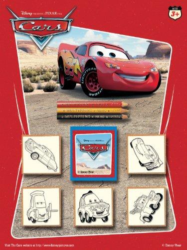 Multiprint Blister 5 Sellos para Niños Disney Cars, 100% Made in Italy, Sellos Personalizados para Niños, en Madera y Caucho Natural, Tinta Lavable no Tóxica, Idea de Regalo, Art.05823