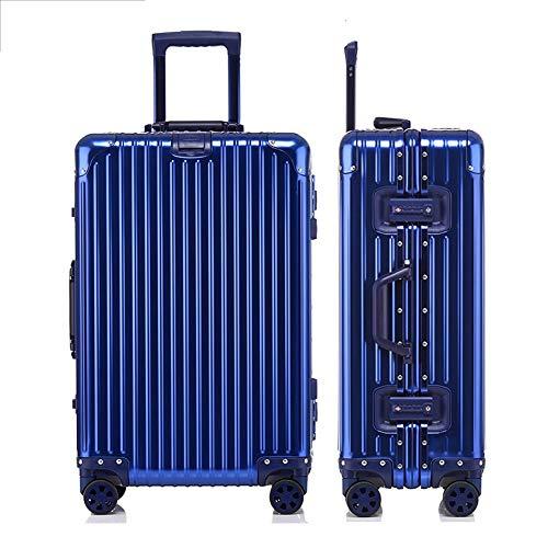 LPJYZ Aluminium-Magnesium-Legierung Trolley Case Universal-Rad-Gepäck-Koffer Männliche und weibliche Passwort Boarding Fall Karo Metallkoffer (Color : Blue,...