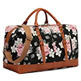 CAMTOP Weekender Travel Bag Women Ladies Overnight Bags PU Leather Trim Canvas Carry On Duffle (Flower)