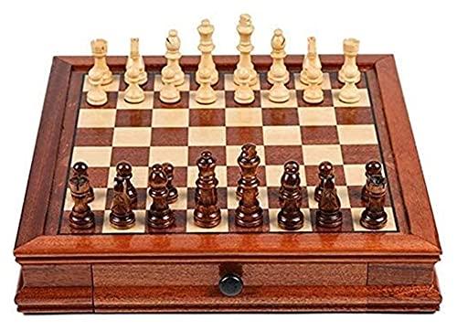 Juego de ajedrez Juegos Viajes Adultos Niños Tablero Puzzle Juego de ajedrez Juego de ajedrez de Viaje magnético, Madera Maciza con ajedrez del cajón (Size : 41x41x8cm)