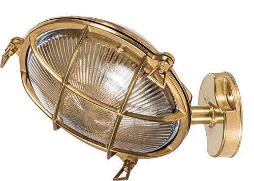 *Außenleuchte Glas echtes Messing IP64 robust rostfrei maritime Lampe Wand Haustür Terrasse*