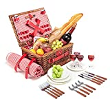 Wicker Picnic Basket Set for 4 Persons with Large Insulated Cooler Bag and Waterproof Picnic Blanket, Willow Picnic Hamper for Family, Outdoor, Camping, Party(Red)
