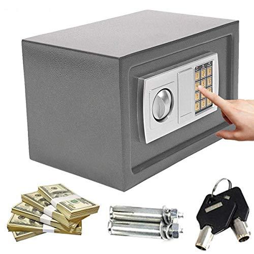 YLLN 8.5L Caja de seguridad de acero digital Caja de seguridad electrónica Cofre de seguridad Caja de seguridad Impermeable Resistente al fuego 2 Llaves de anulación manual: Proteja el dinero con el t