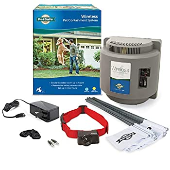 PetSafe Wireless Fence Pet Containment System Covers up to 1/2 Acre for Dogs over 8 lb Waterproof Receiver with Tone / Static Correction - From The Parent Company of INVISIBLE FENCE Brand