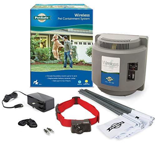PetSafe Wireless Fence Pet Containment System, Covers up to 1/2 Acre, for Dogs over 8 lb, Waterproof Receiver with Tone / Static Correction - From The Parent Company of Invisible Fence Brand