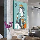 ganlanshu Pintura sin Marco Poker Personajes Abstractos Estirar HD Lienzo decoración Pintura Mural Sala de Estar decoración del hogar pinturaZGQ4792 50X70cm