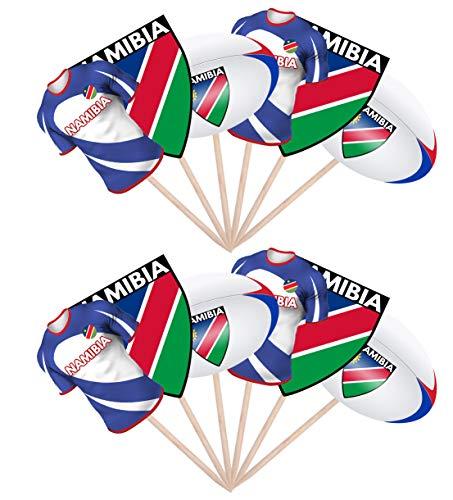 AK Giftshop Rugby Party Food Cupcake Picks Stäbchen Dekoration Aufsteller Aufsteller Namibia (12 Stück)