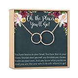 Graduation Gift Necklace for Girls: College, High School, Elementary, Senior Graduation, 2 Interlocking Circles (rose-gold-plated-brass, NA)