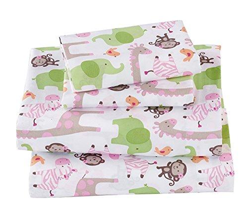 Linen Plus Sheet Set Monkey Giraffe Alligator White (Full Sheet, Monkey)
