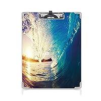 クリップボード 海 プレゼントA4 バインダー 波の日の出サーファーの視点シュールな沿岸の魅力スポーツライフスタイルシーン 用箋挟 クロス貼 A4 短辺とじブルーペールモーブ