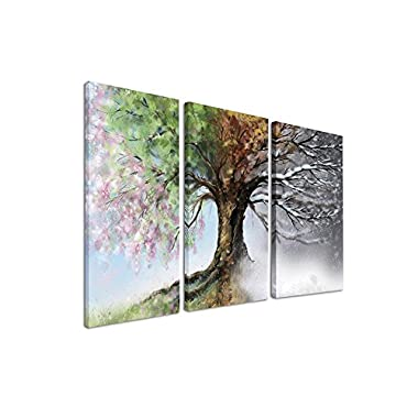 Handpainted Tree Wall Art Four Seasons Abstract Modern Painting 3 PCS Black White Red Artwork Magical Tree Hanging for Living Room Bedroom Dorm Decor, Purple Yellow Green Navy Brown(28''Hx42''W)