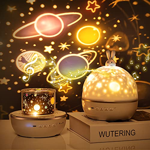 Night Light Projector for Kids,Star Projector Bluetooth Music for Baby Bedroom,Bunny Galaxy Projector Lamp,6 Sets of Film Nightlight Projector Lamp,USB Rechargeable, Remote Control,360°Rotating,Timer