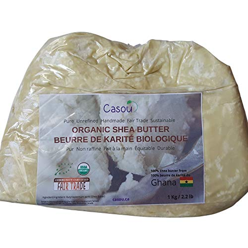 USDA Certified Organic Arfican Raw Unrefined Shea Butter - Restorative Moisturizer Fair Trade Natural and Pure - Very good for body for Soapmaking Lip Balm... 1KG/2.2 LBS (1 pack)