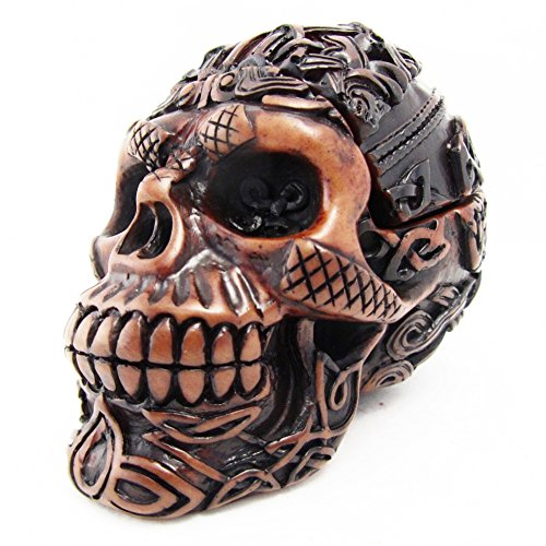 Blue Orchid Celtic Skull Trinket Box Figurine, Gothic Tribal Tattoo Desk Decor, with Removable Top, Brown Resin 3.5 Inch (Amber Skull)