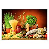 Poster Italienisch Kochen Zutaten Pasta Käse Kräuter