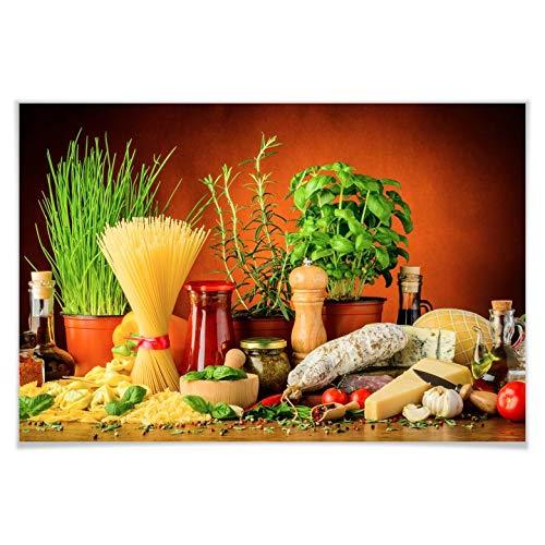 Poster Italiaans koken ingrediënten pasta kaas kruiden Wall-Art 100x70 cm multicolor