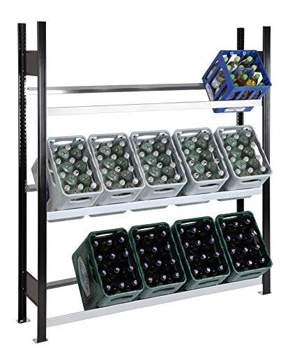 SCHULTE Getränkekisten-Grundregal 1800 x 1400 x 400 mm, schwarz/verzinkt, 3 Ebenen, für bis zu 12 Kästen; MADE IN GERMANY