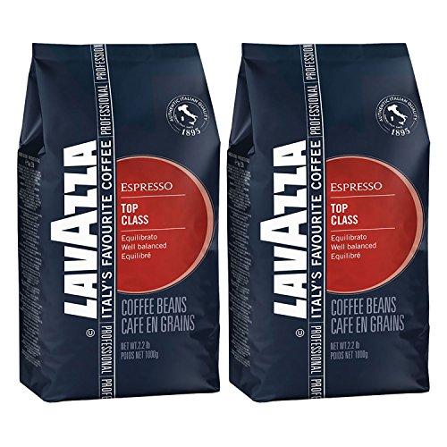 Lavazza Kaffee Espresso Top Class, ganze Bohnen, Bohnenkaffee (2 x 1kg Packung)