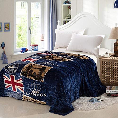 N/R Bandera de Estilo de Londres Manta de vellón de Coral en Tela de Cama cobertor Mantas Toalla de baño de Felpa Aire Acondicionado Ropa de Cama para Dormir, 01,150cmx200cm