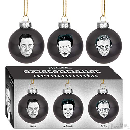 Archie McPhee Existentialist Holiday Glass Ornaments Set in Black 2' Diameter