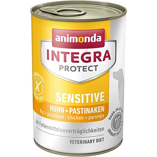 animonda Integra Protect Sensitive Hund, Diät Hundefutter, Nassfutter bei Futtermittelallergie, Huhn + Pastinaken, 6 x 400 g