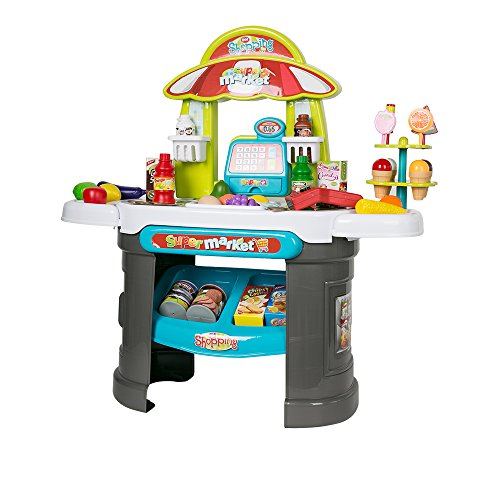 Karmas Product Plastic Shopping Market Grocery Play Stand with Cash Register Learning Toys for Toddlers