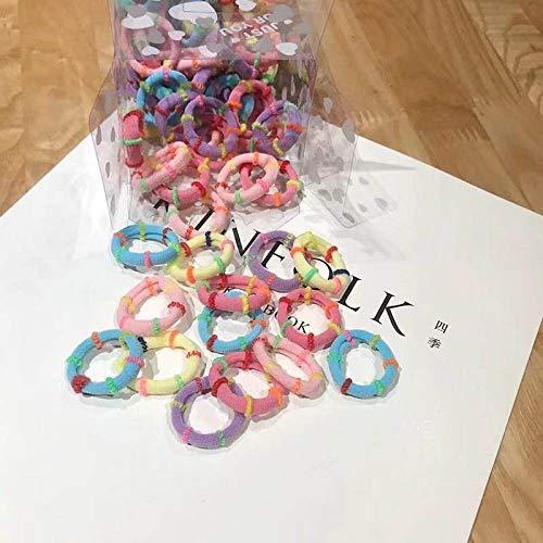 THTHT Haarring, eenvoudige meisjes, elastische haarband, handdoek, ring, snoep, kleur 2 stuks, kleine afmetingen, hoofddeksel, vrouwelijk haar met paardenstaart, elastiek, haarbundel