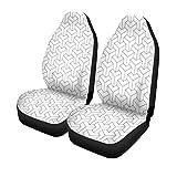 Enoqunt Autositzbezüge Muster Geometrische Schwarz-Weiß-3D-Pfeilblock-Geometrie 2er-Set Protektoren