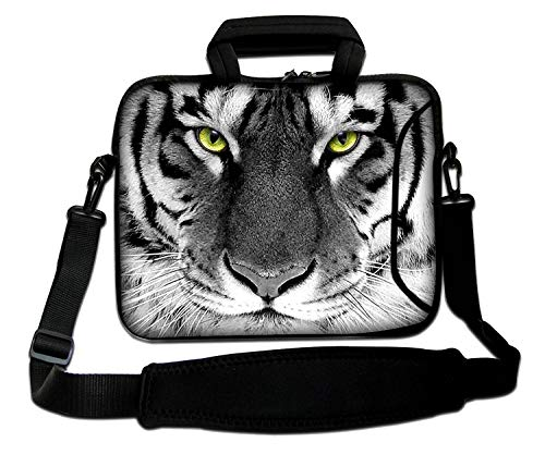 Luxburg® Design Laptoptasche Notebooktasche Sleeve mit Schultergurt & Fach für 15,6 Zoll, Motiv: Tigeraugen