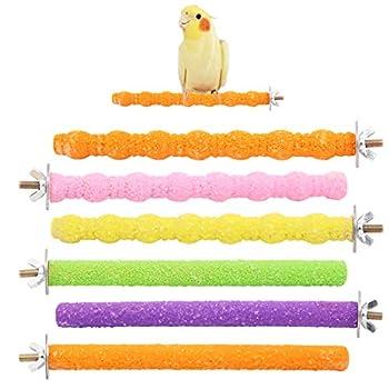 Wudong 6 Pcs Perroquet Perches, Coloré Cage À Oiseaux Gommage Stand Bar pour Oiseau Perroquet Perruches Perruche Calopsitte Conure Inséparable Cage Patte Broyage Jouet