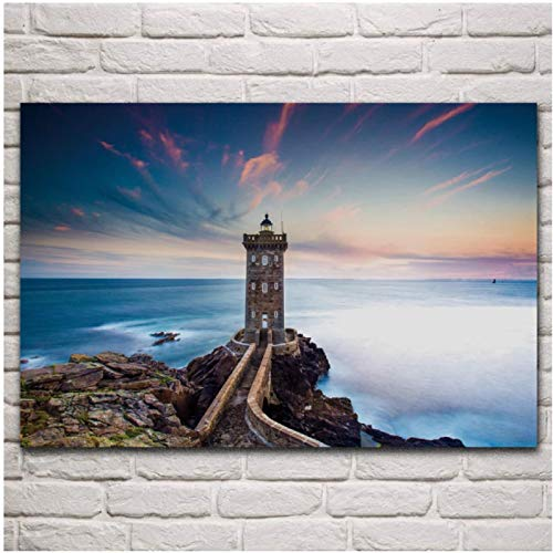 FGVB Brittany Lighthouse Coastline Seascape Nature Scenery decoración de la Sala de Estar decoración del Arte de la Pared del hogar Carteles -60x90CM sin Marco