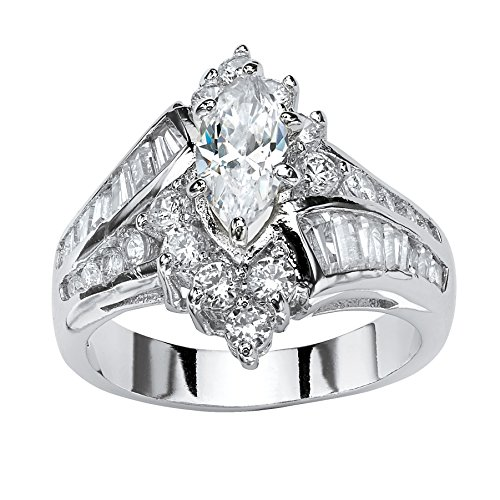 Palm Beach Jewelry Platinum Plated Marquise Shaped and Baguette Cubic Zirconia Bypass Engagement Ring Size 6