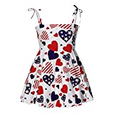 Baby Floral Dress Spaghetti Strap Fourth of July Cute Print Sleeveless Square Collar Knee Length Casual 12-24 Months Overall Bodycon Clothing(Red,7)