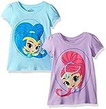 Shimmer and Shine Girls' Toddler 2 Pack Short Sleeve T-Shirt, Light Blue/Lilac, 3T
