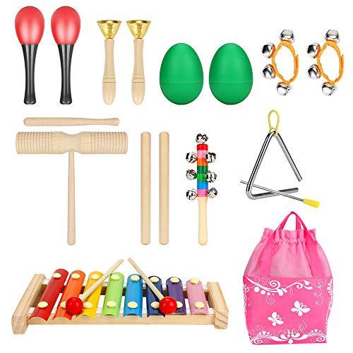 welltop 9 Stück Musikinstrumente Musical Instruments Set, Holz Percussion Set Schlagzeug Schlagwerk Rhythm Toys Musik Kinderspielzeug für Kleinkinder