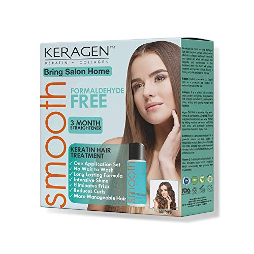 Keragen – Brazilian Keratin Hair Smoothing Treatment Express Home Kit– Blowout Straightening System – with 2oz Formaldehyde Free Treatment, 2oz Clarifying Shampoo and Aftercare Samples