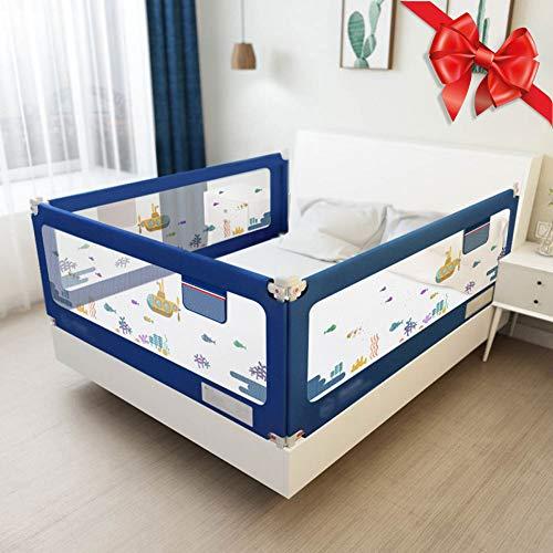 Douer Barrera de Cama 150/180/200/220cm, Barrera de Cama Plegable, Barandilla de Cama Anti-caída Infantil Portatil Seguro Riel de Cama para Niños Bebé, Azul