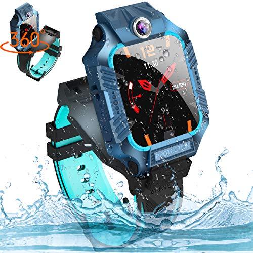 Smartwatch für Kinder, 360°Drehbar Touchscreen Kinder Smartwatch mit Voice Chat, Doppelt Kamera, LBS Tracker, Taschenlampen IP67 Wasserdicht Smartwatch Kinder für 4-15 Jahre alt mädchen und jungen
