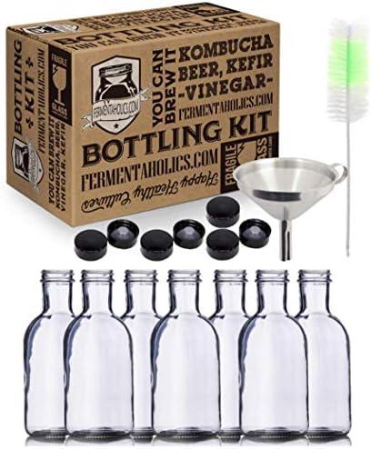 Kombucha Bottling Kit 7x 16 fl oz Glass Stout Bottles With Airtight Lids Stainless Steel Funnel product image