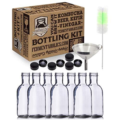 Kombucha Bottling Kit: 7x 16 fl oz Glass Stout Bottles With Airtight Lids, Stainless Steel Funnel, Bottle Brush, Airtight, High-Pressure Bottles Great For Kombucha, Kefir or Ginger Beer