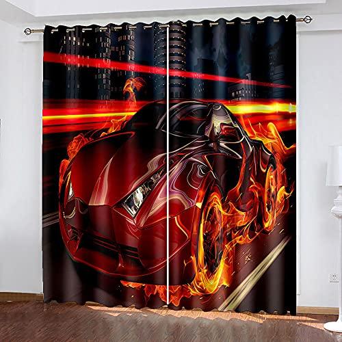 LWXBJX Cortinas Salon Cortinas Habitacion Niño Cortina Opaca - Rojo coche deportivo llama creativo - Impresión 3D Aislantes de Frío y Calor 90% Opacas Cortinas - 200 x 160 cm - Salon Cocina Habitacion