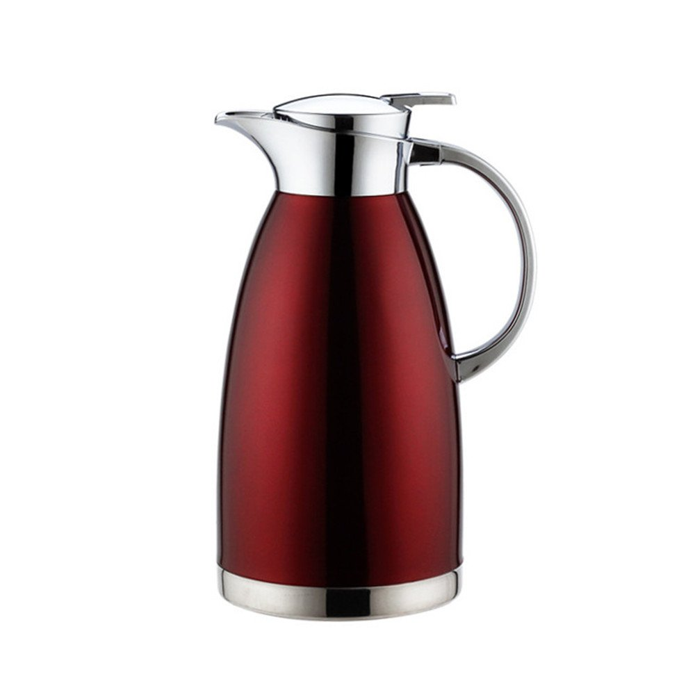 OnePine 1.8L/61oz Jarra Térmica Acero Inoxidable Doble Pared Aislado al vacío Cafetera, zumo/leche/té Jarra Termo, agua caliente y agua Fría para (Rojo): Amazon.es: Hogar