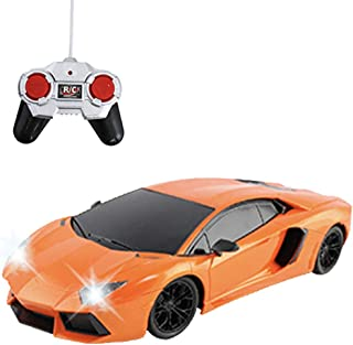 Liberty Imports RC Remote Control Sports Car with LED Headlights and Backlights 1:18 Scale (Orange)