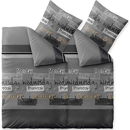 CelinaTex Fashion Bettwäsche 135x200 cm 4teilig Baumwolle Crazy Wörter Streifen Grau Schwarz Weiß